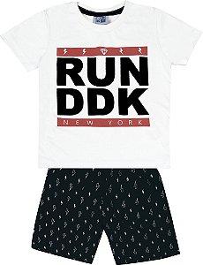 Conjunto Camiseta Estampada Run DDK e Bermuda Tactel Estampada Branco
