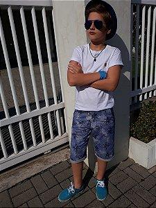 Bermuda Infantil Menino Estampada Azul
