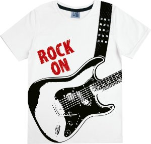 Camiseta Infantil Menino Rock Branca