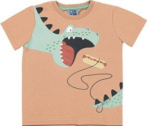 Camiseta Bebê Menino Dinossauro Laranja