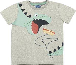 Camiseta Bebê Menino Dinossauro Mescla