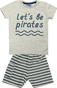 Conjunto Camiseta com Estampa e Bermuda Moletom Listrado Pirates Mescla