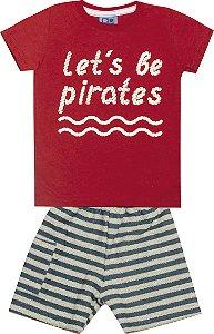 Conjunto Camiseta com Estampa e Bermuda Moletom Listrado Pirates Vermelho
