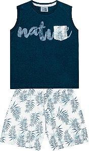 Conjunto Machão Estampada com Bolso e Bermuda Tactel Estampada Azul