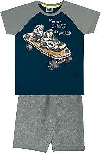 Conjunto Camiseta Estampada Skate e Bermuda em Moletom Azul