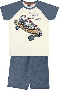 Conjunto Camiseta Estampada Skate e Bermuda em Moletom Bege