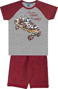 Conjunto Camiseta Estampada Skate e Bermuda em Moletom Mescla