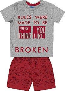 Conjunto Camiseta Estampada Broken e Bermuda Moletom Estampada Mescla