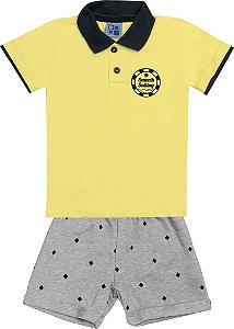 Conjunto Camiseta Polo com Estampa e Bermuda em Moletom Amarelo