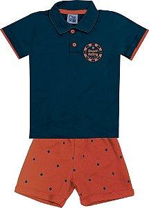 Conjunto Camiseta Polo com Estampa e Bermuda em Moletom Azul