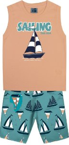 Conjunto Machão Estampada Barco e Bermuda Tactel Estampada Laranja