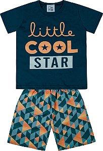 Conjunto Camiseta Estampada Little Cool Star e Bermuda Tactel Estampada Azul