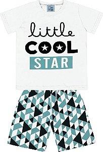 Conjunto Camiseta Estampada Little Cool Star e Bermuda Tactel Estampada Branco