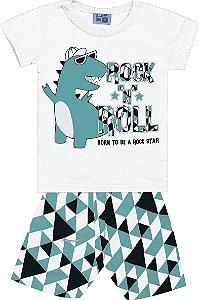Conjunto Camiseta Estampada e Bermuda Tactel Rock Dinossauro Branco