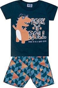 Conjunto Camiseta Estampada e Bermuda Tactel Rock Dinossauro Marinho