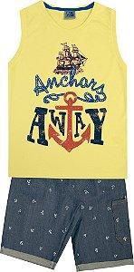 Conjunto Machão com Estampa Naval e Bermuda Jeans Estampada Amarelo