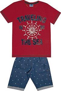 Conjunto Camiseta Estampada Traveling com Estampa e Bermuda Jeans Vermelho