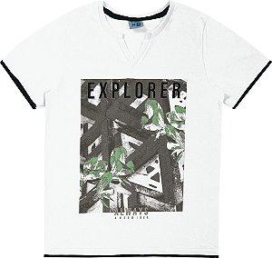 Camiseta Juvenil Menino Explorer Branco