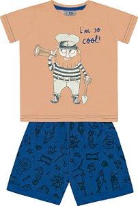 Conjunto Camiseta com Estampa e Bermuda Moletom Marinheiro Laranja