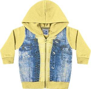 Jaqueta em Moletom Soft Peluciado com Estampa Amarelo