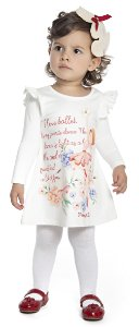 Vestido Bebê Menina Bailarina Bege