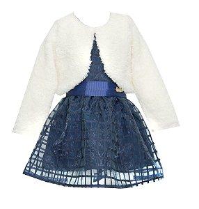 Vestido Infantil Menina Festa com Bolero Azul