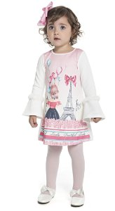 Vestido Infantil Menina Paris Bege