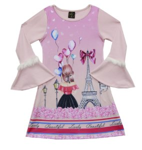 Vestido Infantil Menina Paris Rosa