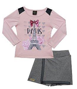Conjunto com Blusa em Cotton Estampada com Detalhes em Strass e Shorts Saia Rosa