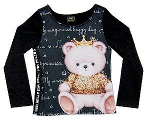 Blusa Infantil Menina Urso Preto
