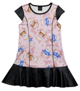 Vestido  Infantil Menina Ursinho Rosa