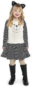 Vestido Infantil Menina Ursinho Preto