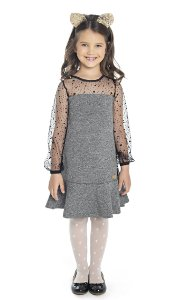 Vestido Infantil Menina Tule Cinza
