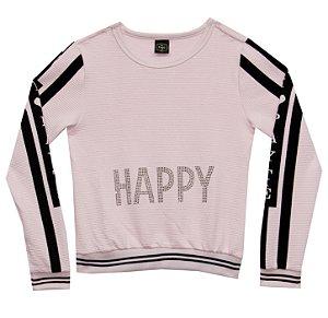 Blusão Juvenil Menina Happy Rosa