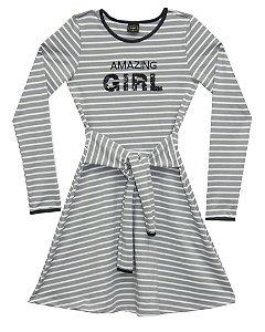 Vestido Juvenil Menina Listrado Cinza