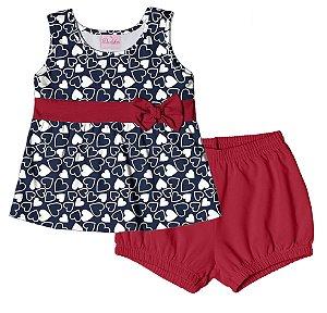 Conjunto de Bata e Shorts em Cotton Azul