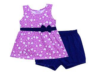 Conjunto de Bata e Shorts em Cotton Rosa