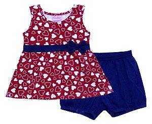 Conjunto de Bata e Shorts em Cotton Vermelho