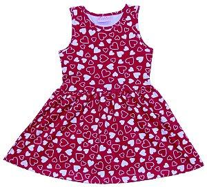 Vestido Infantil Menina Coração Vermelho