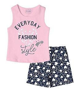 Conjunto Regata em Cotton e Shorts em Cotton Rosa