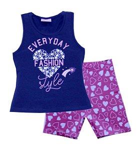 Conjunto Regata em Cotton e Shorts em Cotton Azul