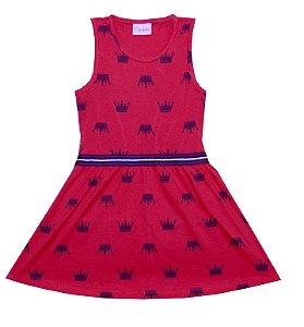 Vestido Infantil Menina Coroa Vermelho