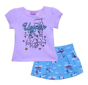Conjunto de Blusa Estampa Glitter e Shorts em Cotton Rosa
