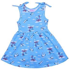 Vestido Infantil Menina Castelo Azul