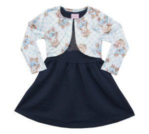Vestido Bebê Menina e Bolero Ursinho Azul