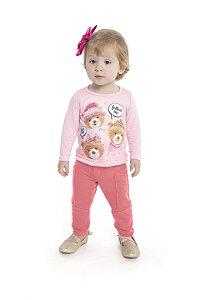 Blusa Bebê Menina Ursos Rosa