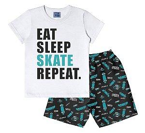 Conjunto de Camiseta e Bermuda Skate Branco