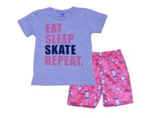 Conjunto de Camiseta e Bermuda Skate Mescla