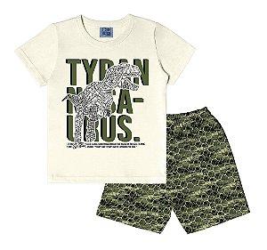 Conjunto de Camiseta e Bermuda Dinossauro Bege