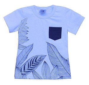 Camiseta Infantil Menino Folhas Azul
